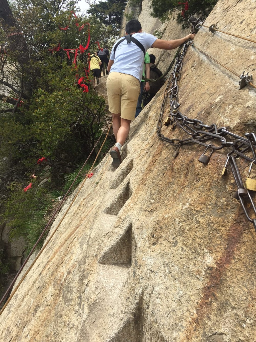 Steps carved into the side of Mt Huashan