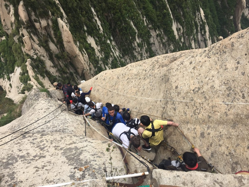 The Ladder down to the Planks on Mt Huashan