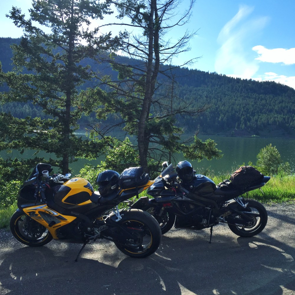 Bikes by a lake on Highway 97